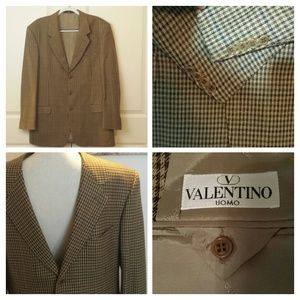 Valentino brown hounds tooth suit jacket XL